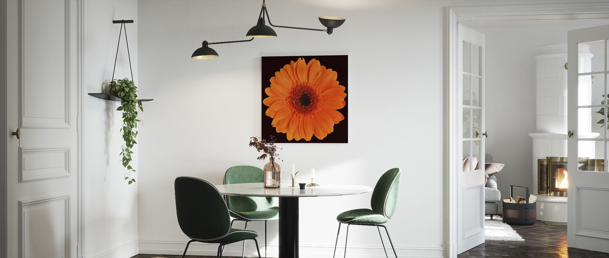 Orange Gerbera - Black - Canvas print - Kitchen
