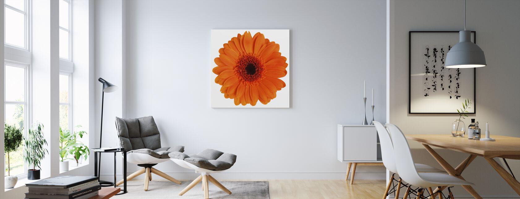 Orange Gerbera - White - Canvas print - Living Room