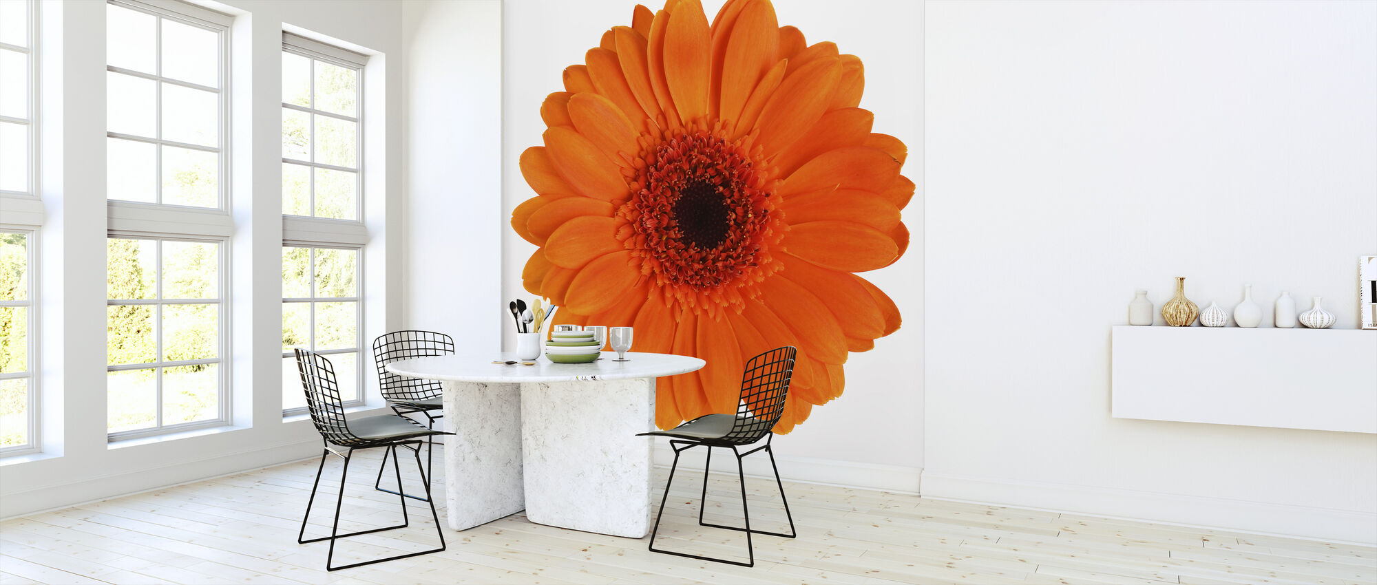 Orange Gerbera - White - Wallpaper - Kitchen