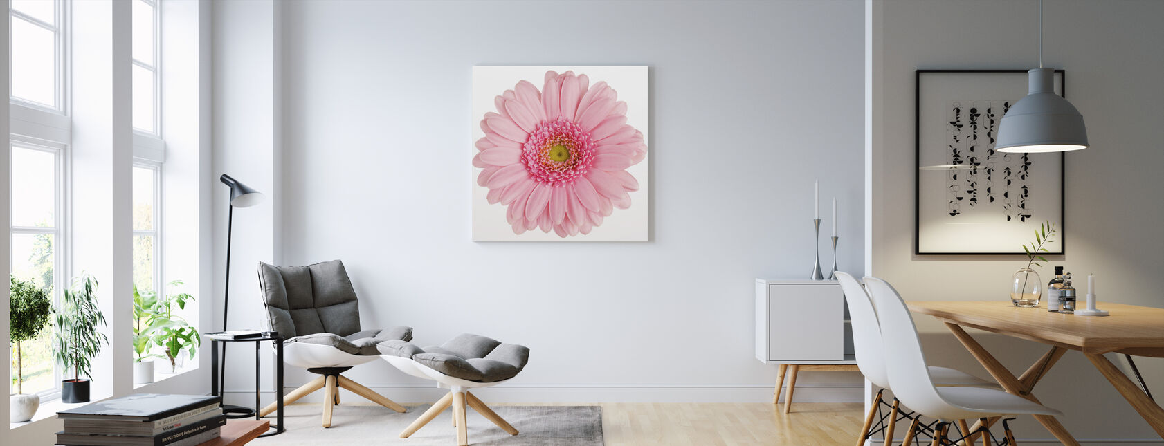 Pink Gerbera White - Canvas print - Living Room
