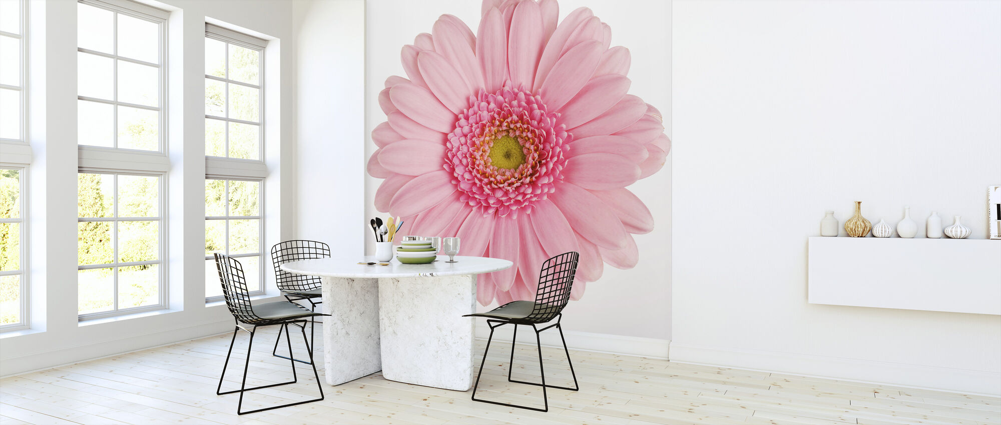 Pink Gerbera White - Wallpaper - Kitchen