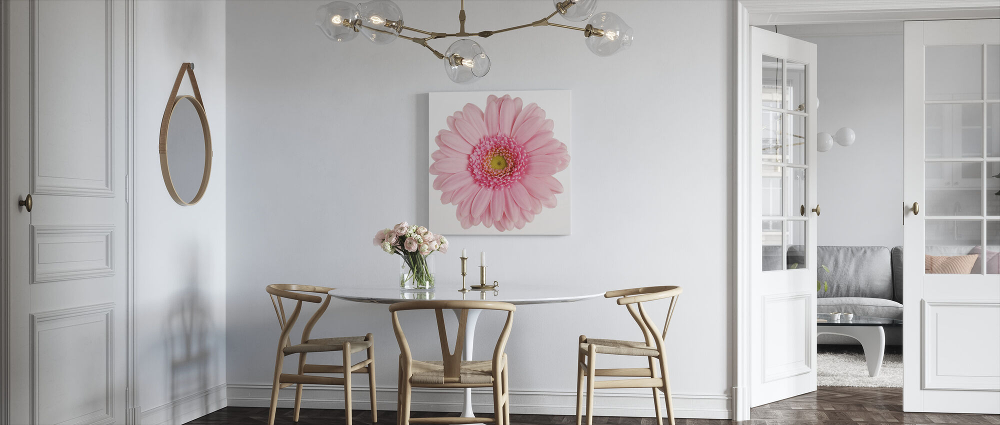 Pink Gerbera White - Canvas print - Kitchen