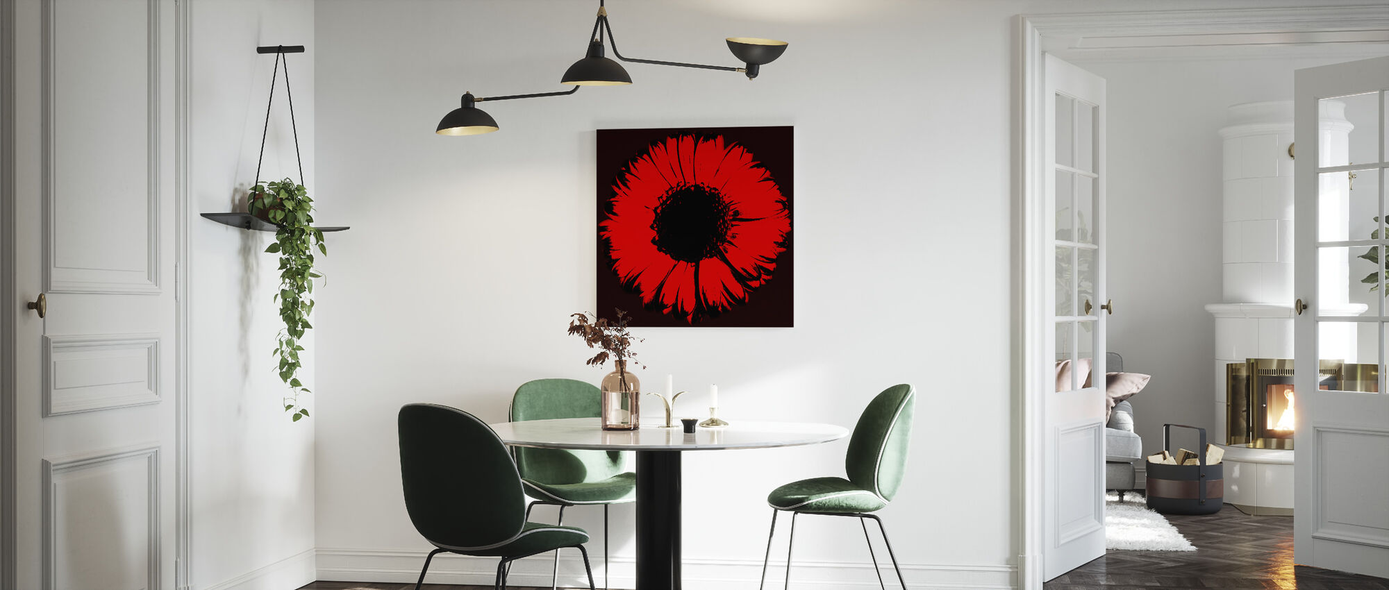 Red Gerbera - Canvas print - Kitchen