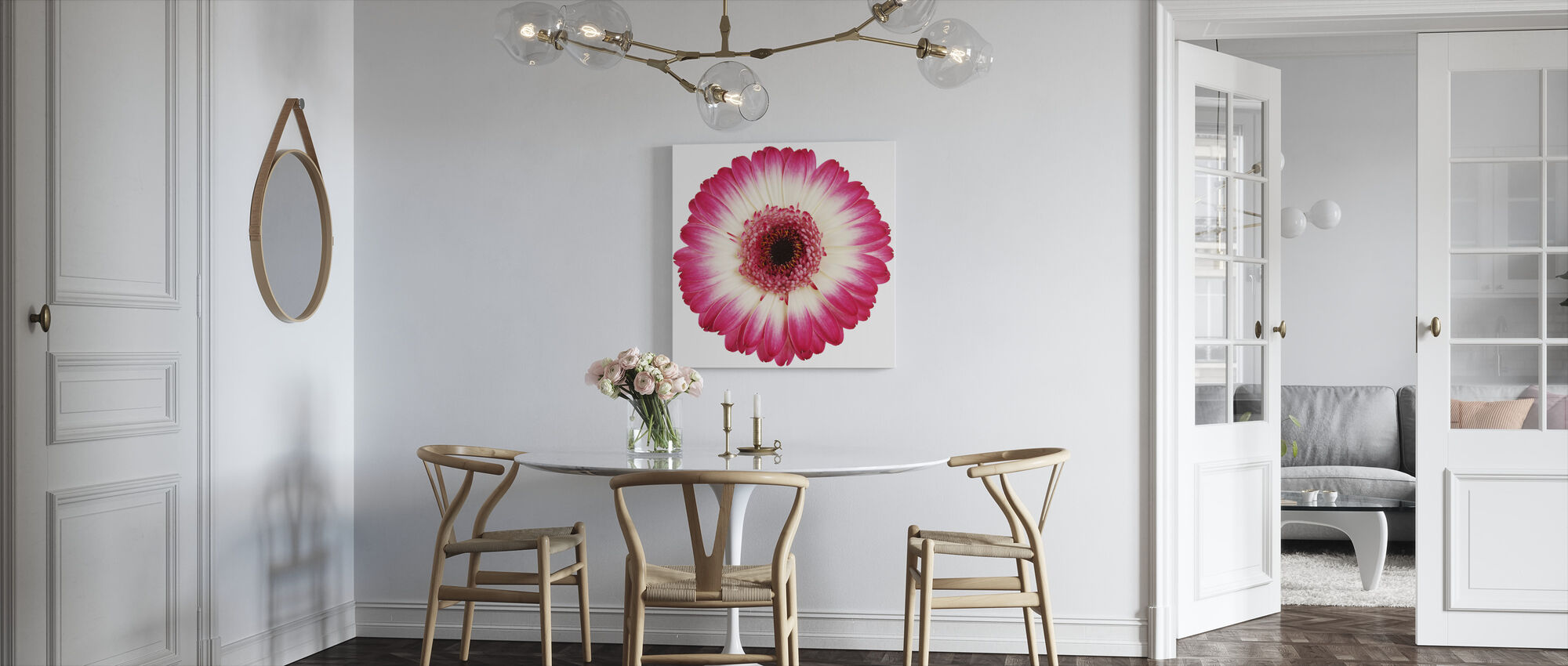 Pink Gerbera Dark - Canvas print - Kitchen