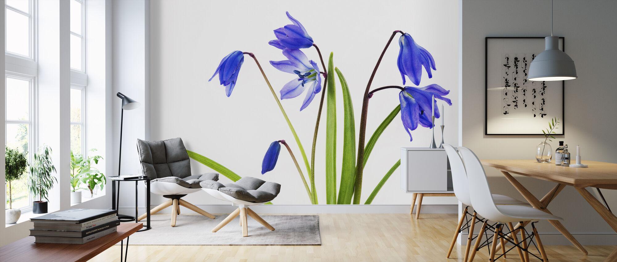 Blauwe Bloemen - Behang - Woonkamer