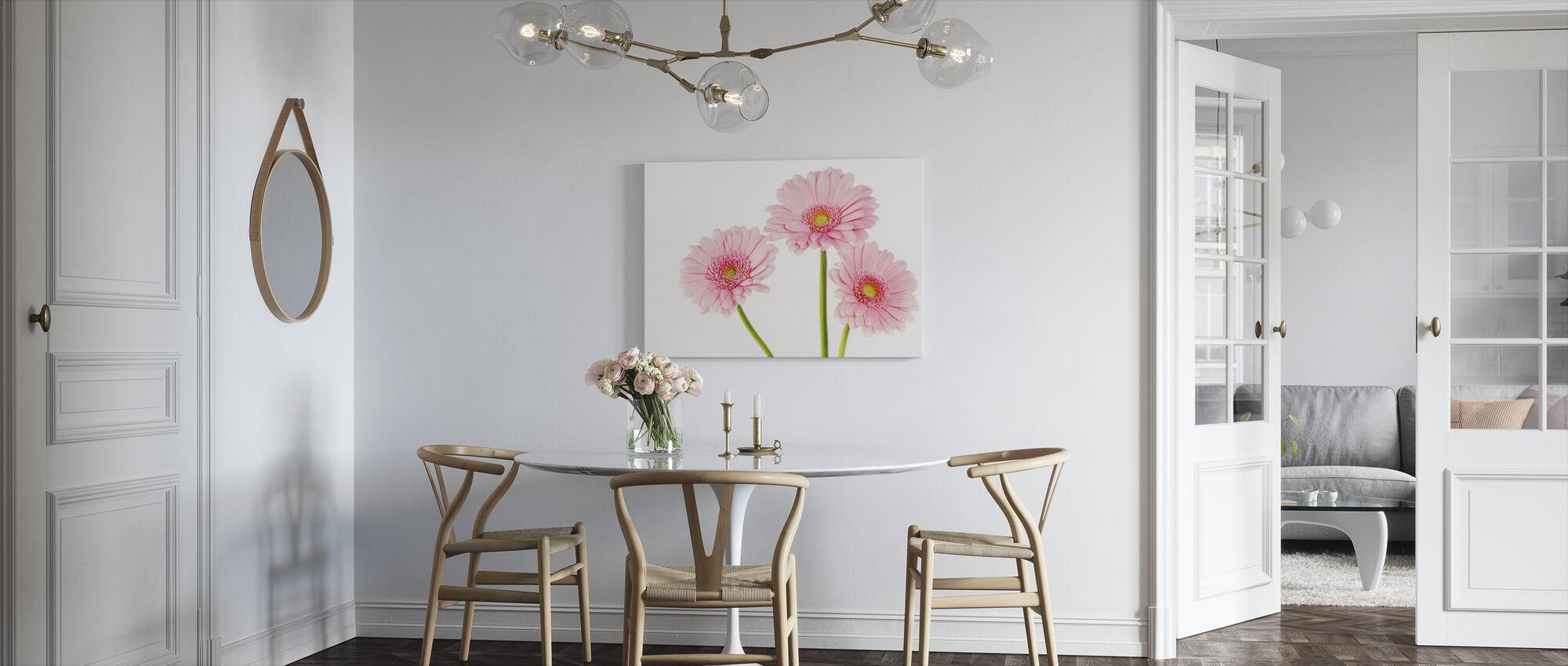 Three Pink Gerbera - Canvas print - Kitchen