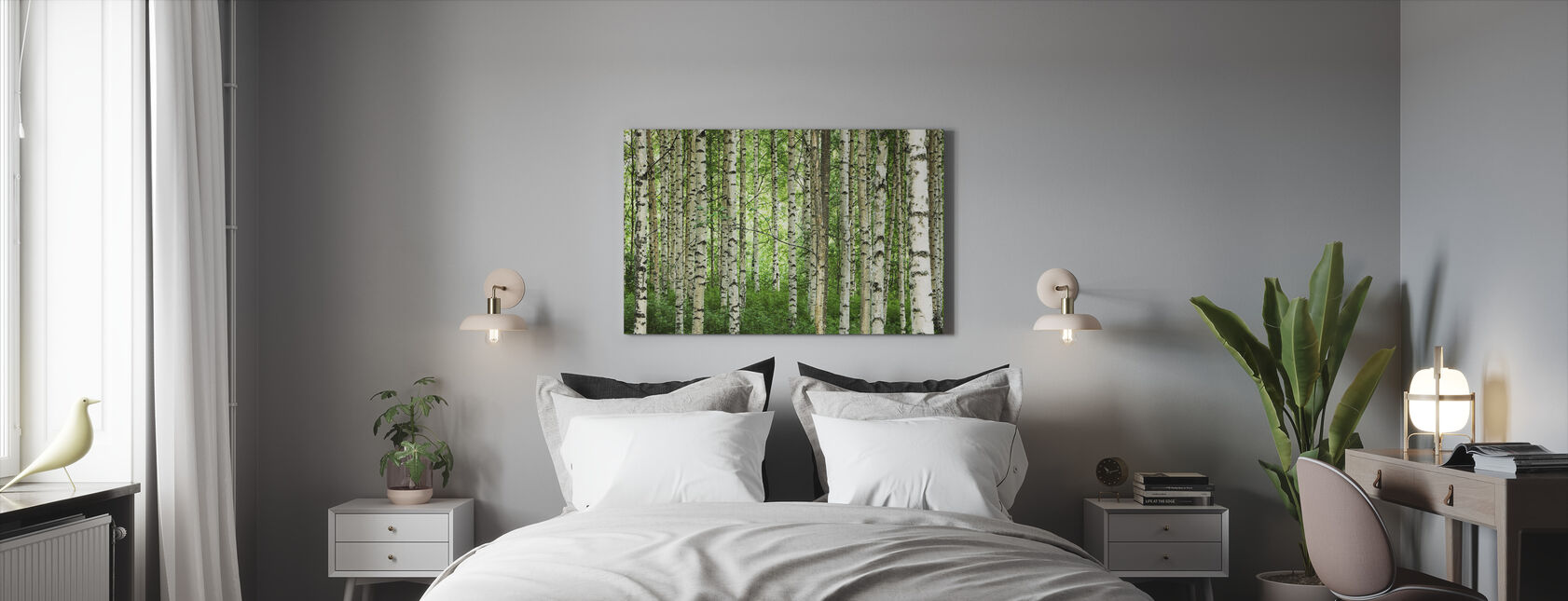 Clear Birch Forest - Canvas print - Bedroom