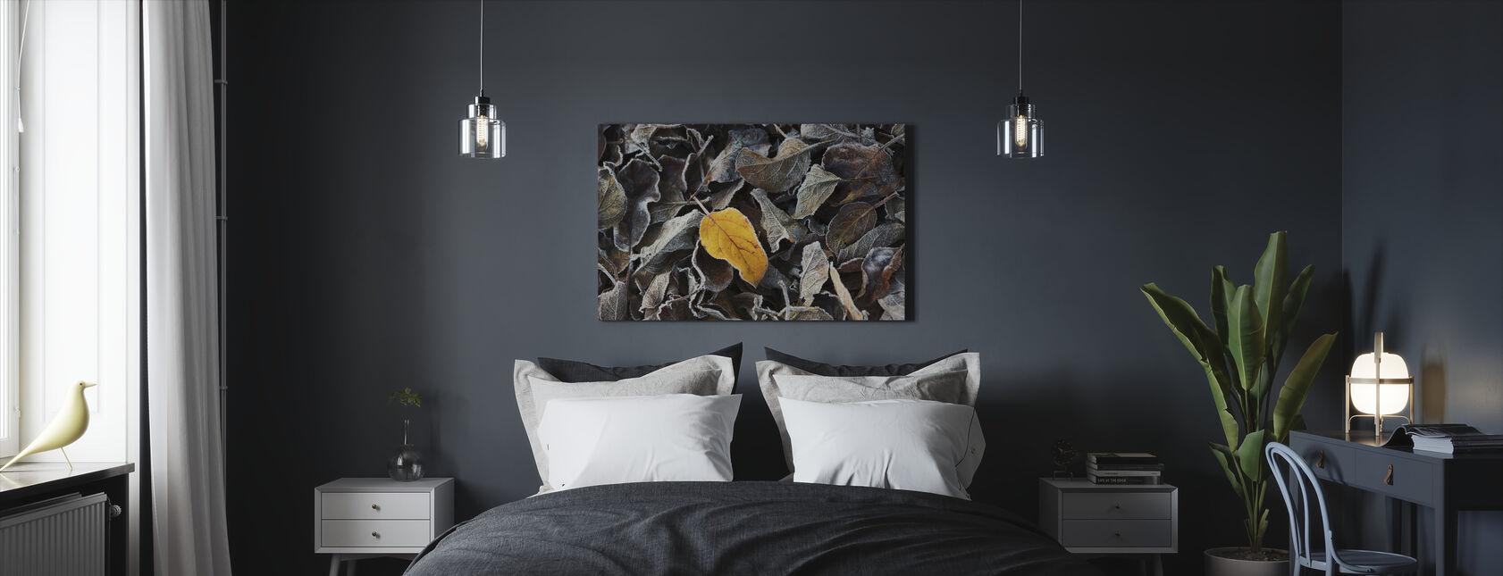 Brun og gul - Billede på lærred - Soveværelse