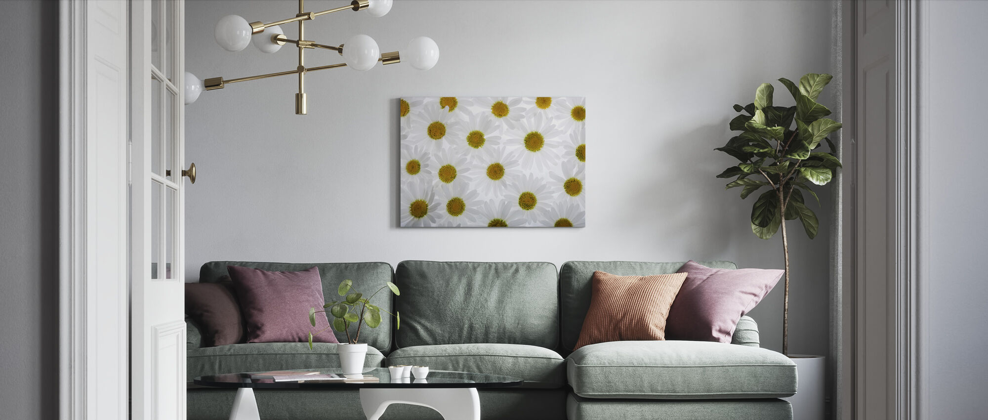 Floor of White Flowers - Canvas print - Living Room