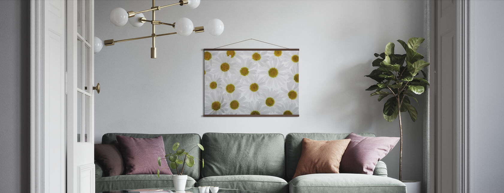 Floor of White Flowers - Poster - Living Room
