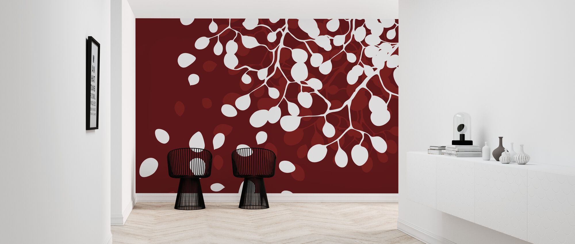 Birch - Holiday Red - Wallpaper - Hallway