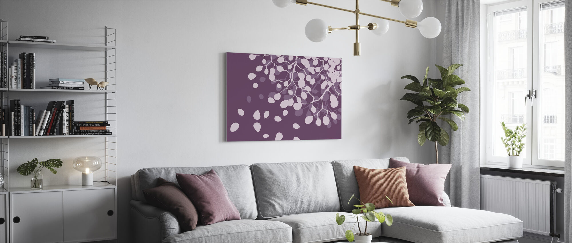 Birch - Plum - Canvas print - Living Room