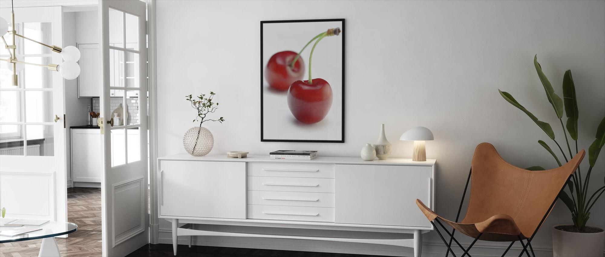 Twee kersen - Ingelijste print - Woonkamer