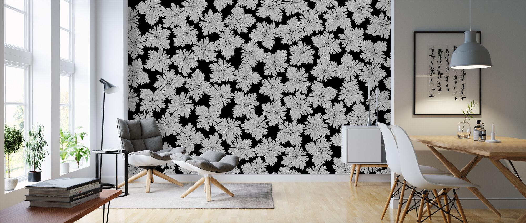 Anemonblad - Black - Wallpaper - Living Room