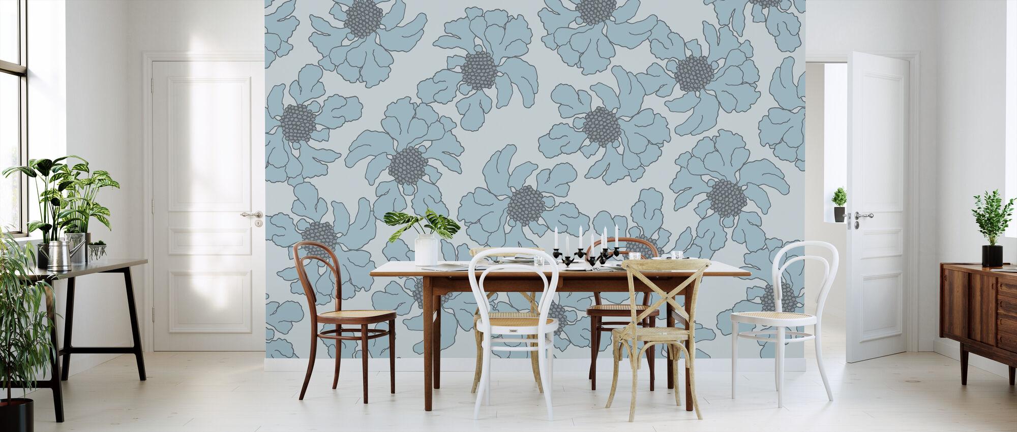 Scabiosa - Blue - Wallpaper - Kitchen