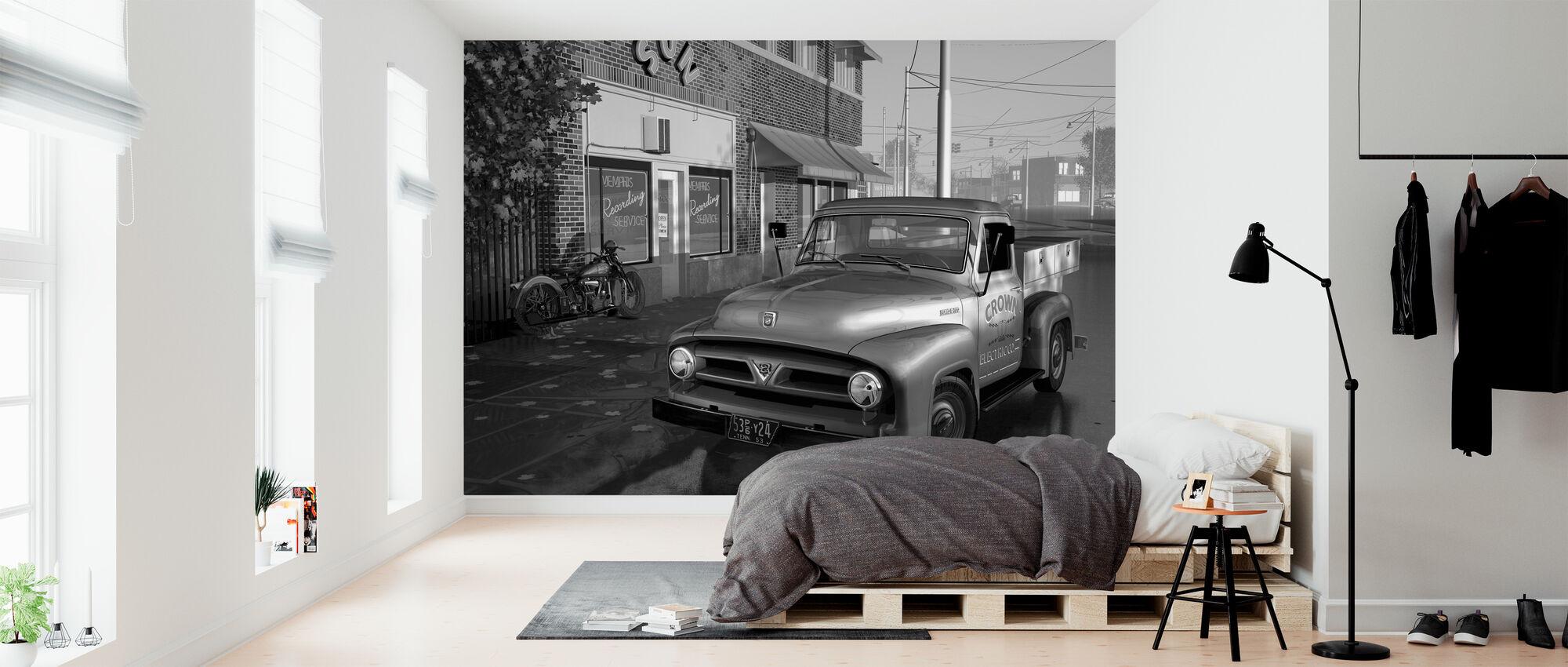 Truck BW - Wallpaper - Bedroom