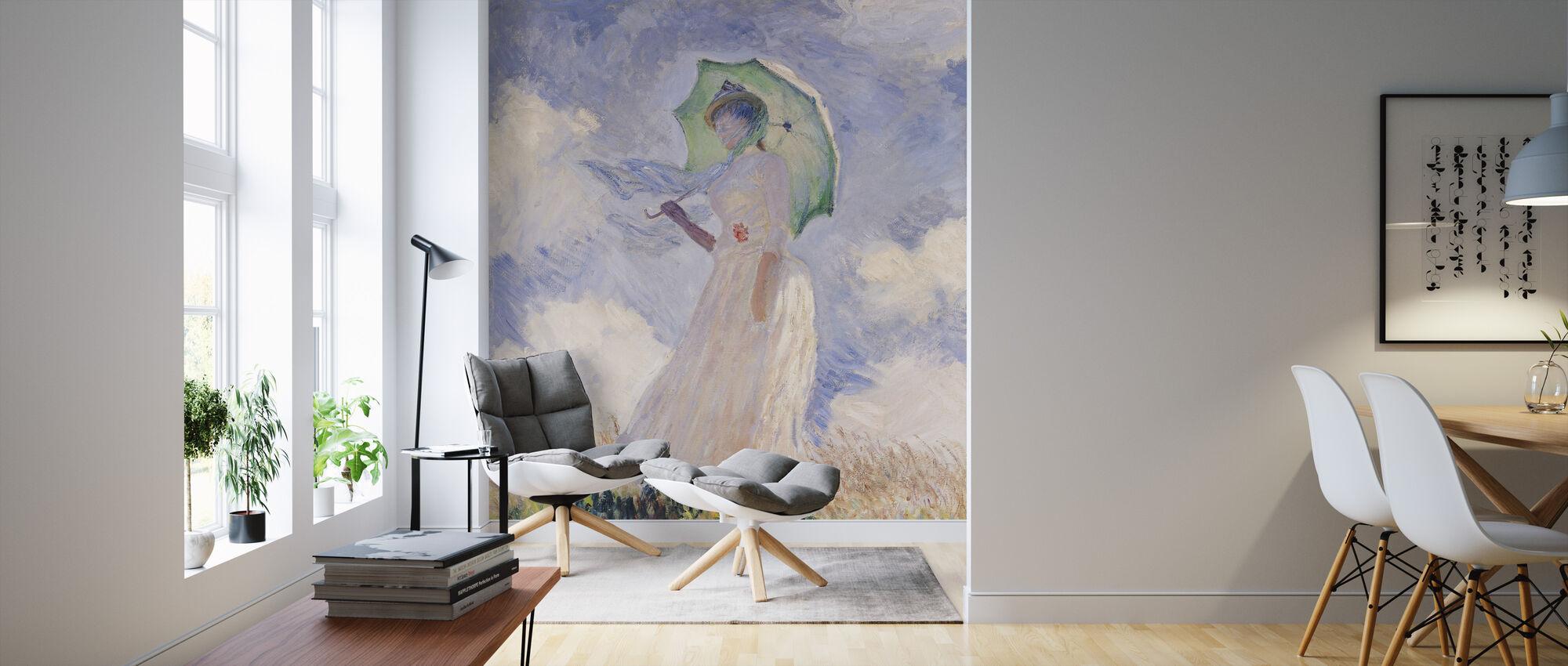 Vrouw met Parasol, Claude Monet - Behang - Woonkamer