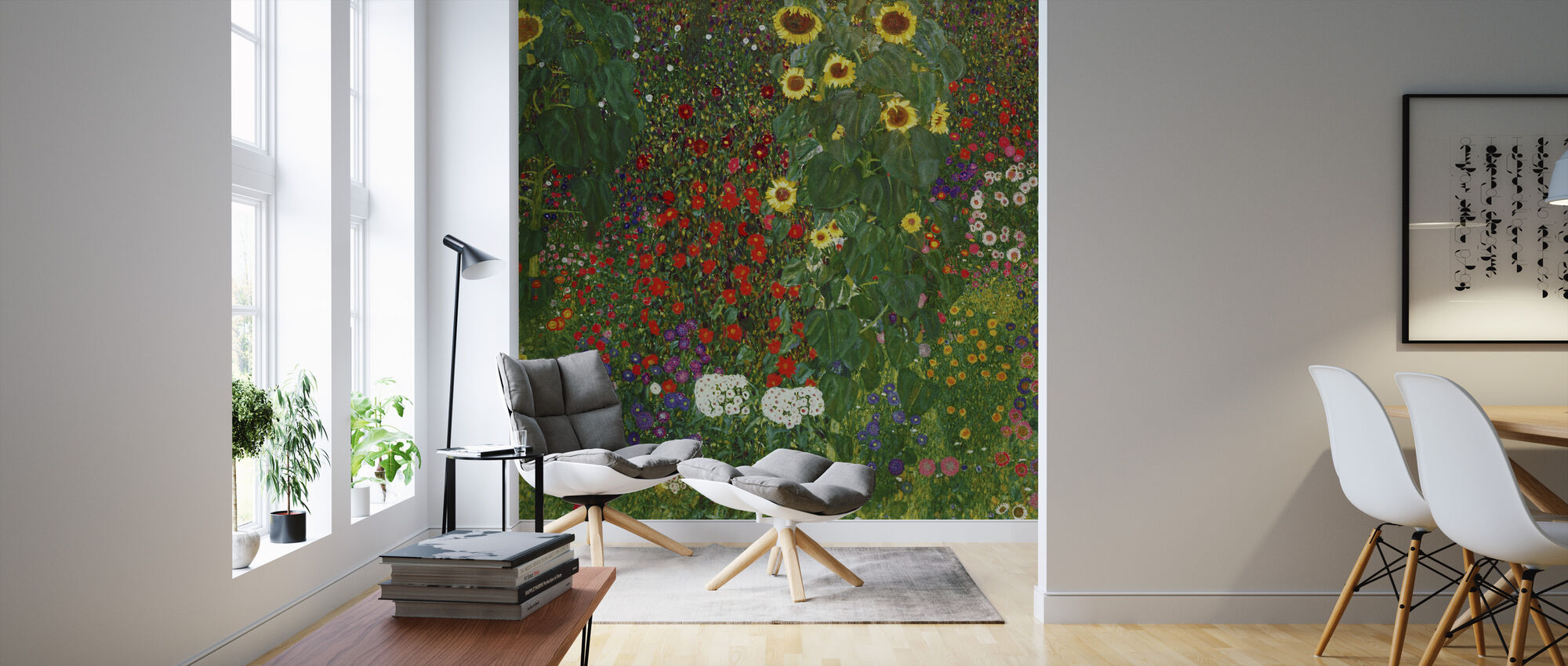 Garden with Sunflowers. Gustav Klimt - Wallpaper - Living Room