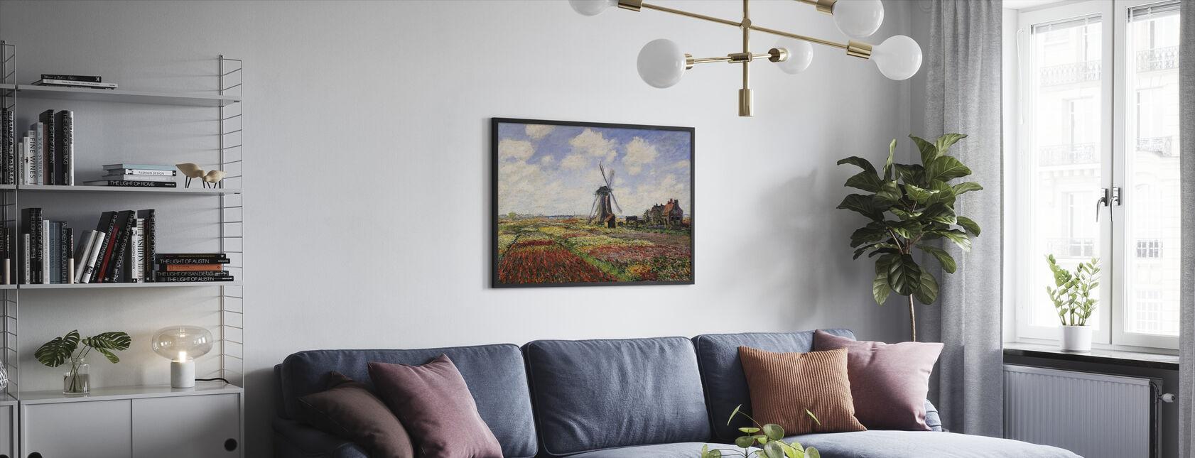 Tulpenvelden, Claude Monet - Ingelijste print - Woonkamer