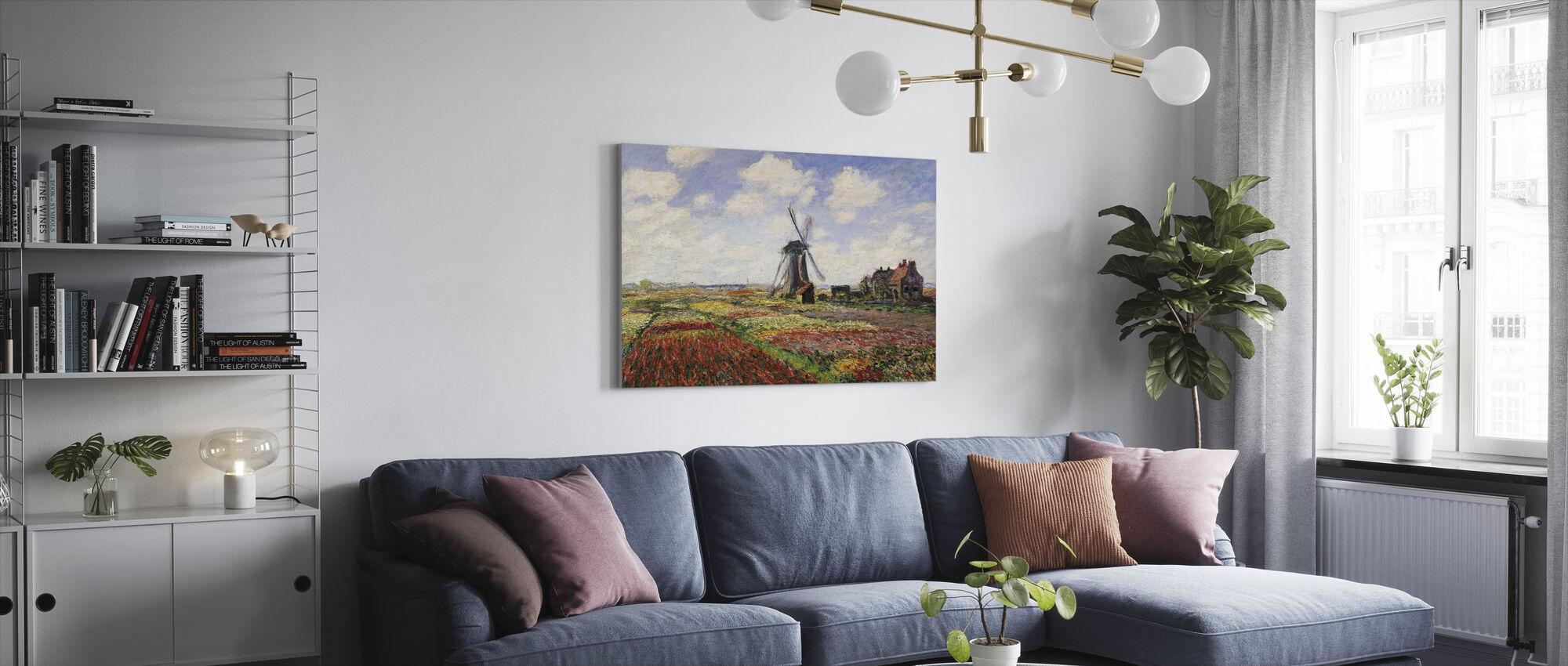 Pola Tulipanów, Claude Monet - Obraz na płótnie - Pokój dzienny