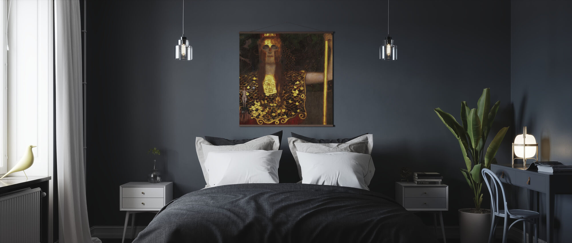 Minerva of Pallas Athena, Gustav Klimt - Poster - Slaapkamer