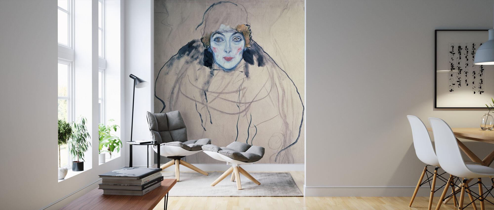 Head of a Woman, Gustav Klimt - Wallpaper - Living Room