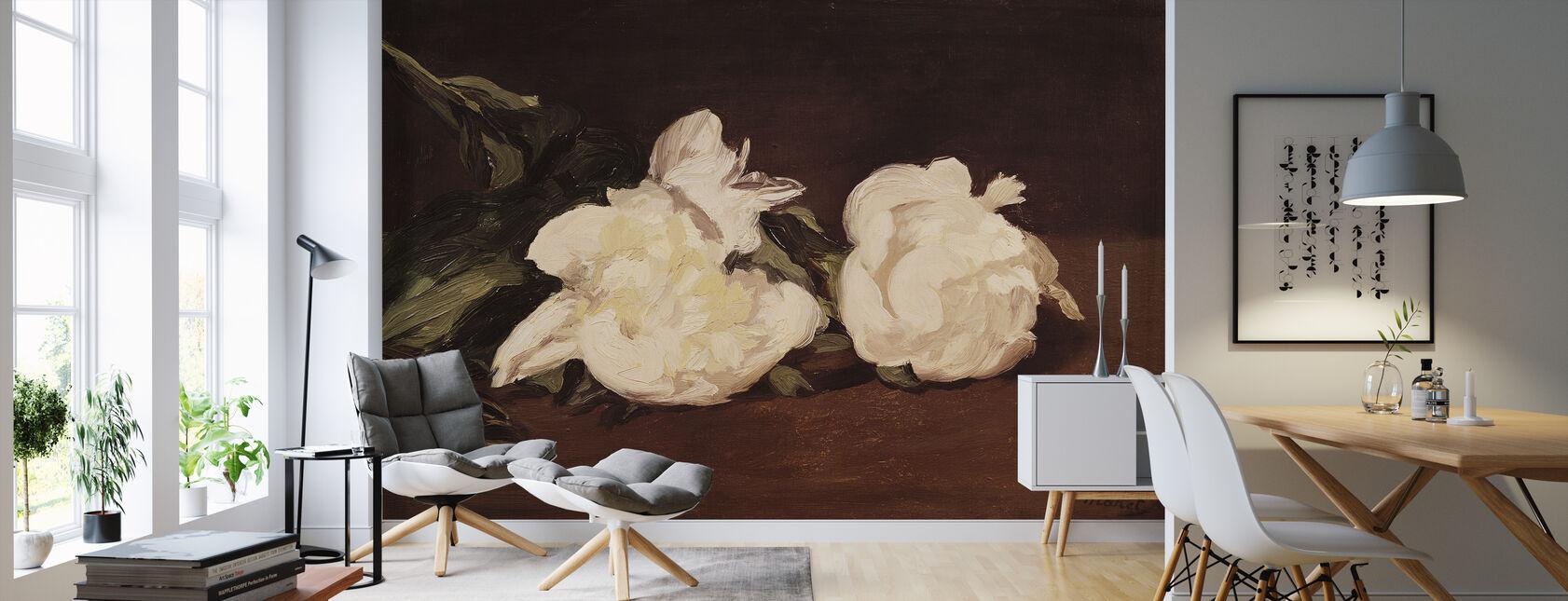 Branch of White Peonies, Edouard Manet - Wallpaper - Living Room