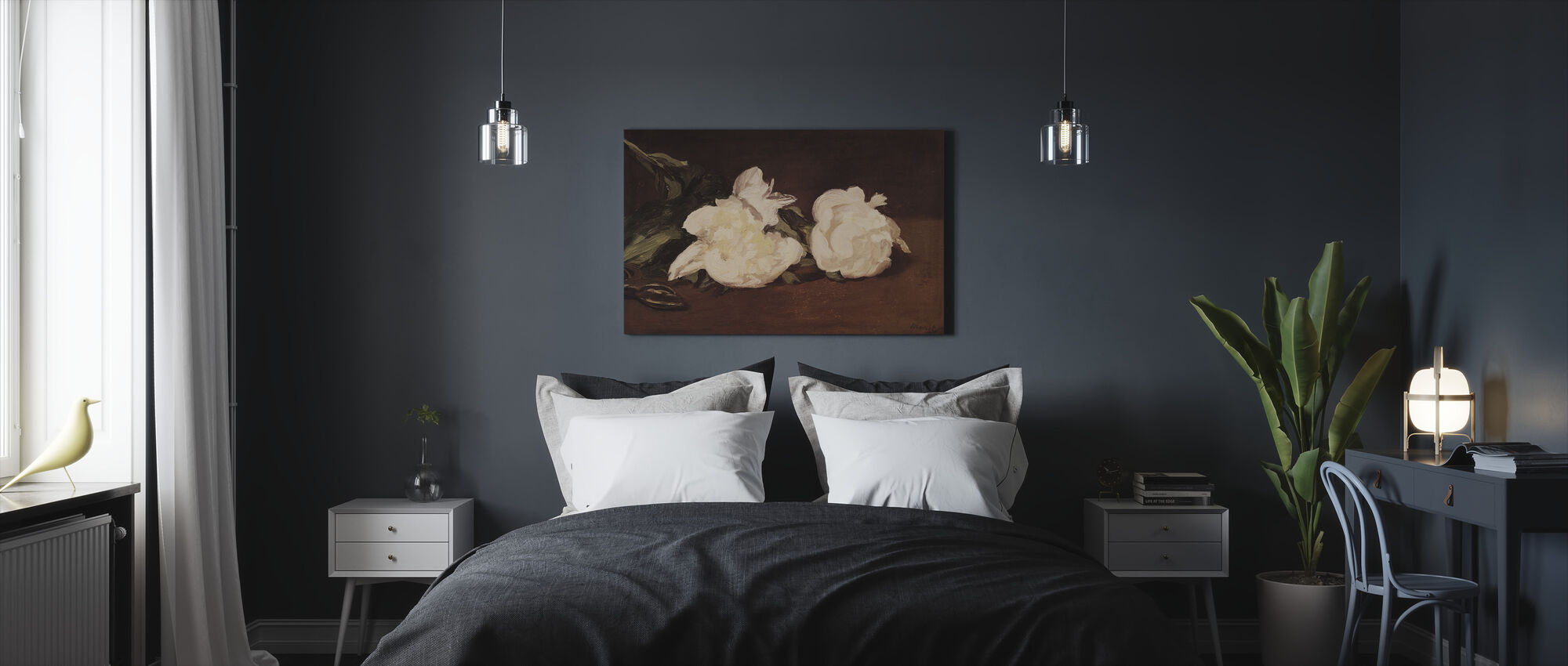 Branch of White Peonies, Edouard Manet - Canvas print - Bedroom