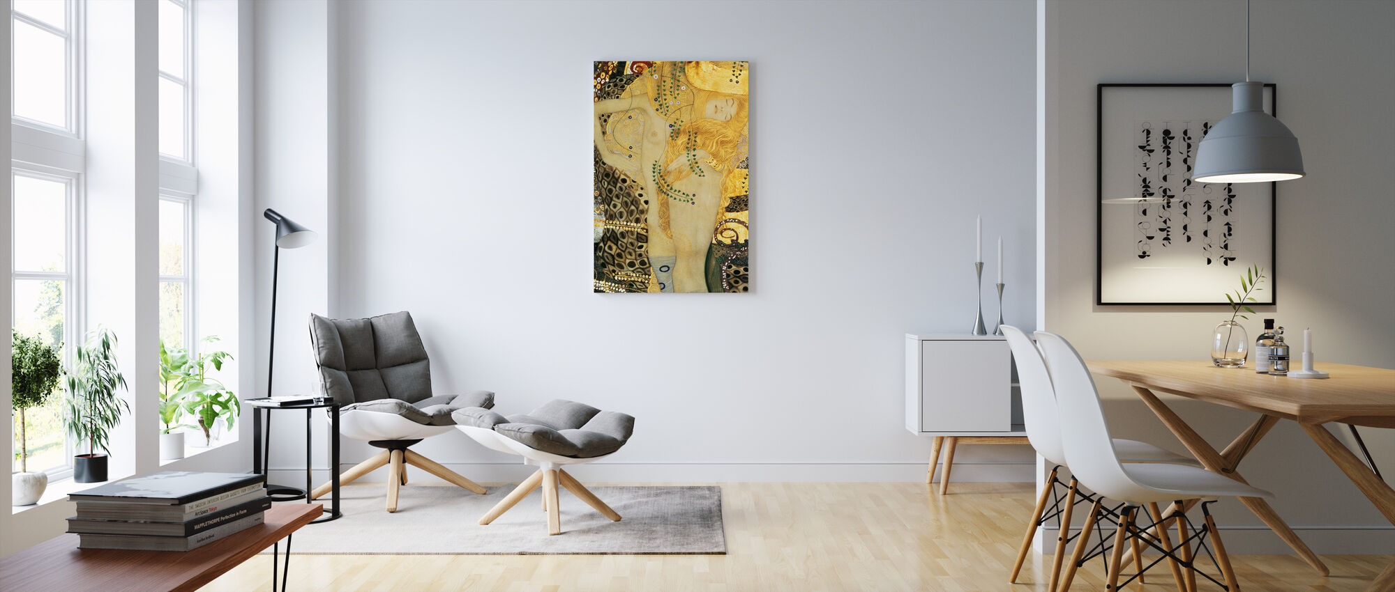 Vandslanger, Gustav Klimt - Lerretsbilde - Stue