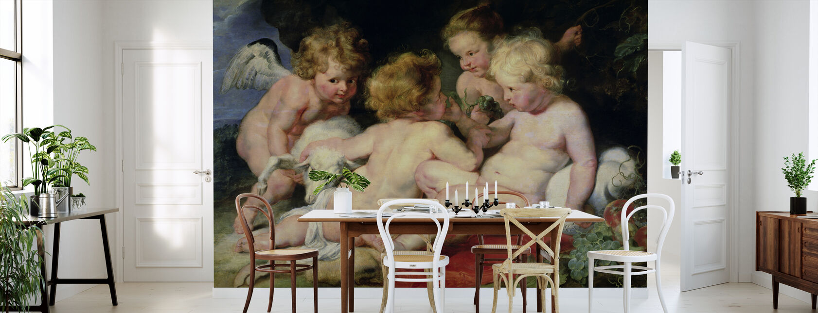 Spädbarn Kristus med Johannes Döparen, Peter Paul Rubens - Tapet - Kök
