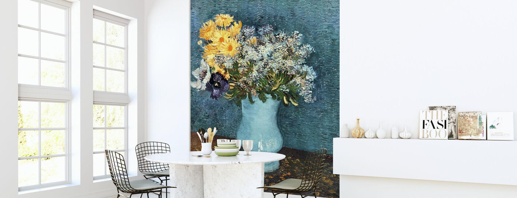 Vase med syrener, tusindfryd og Anemones, Vincent van Gogh - Tapet - Køkken