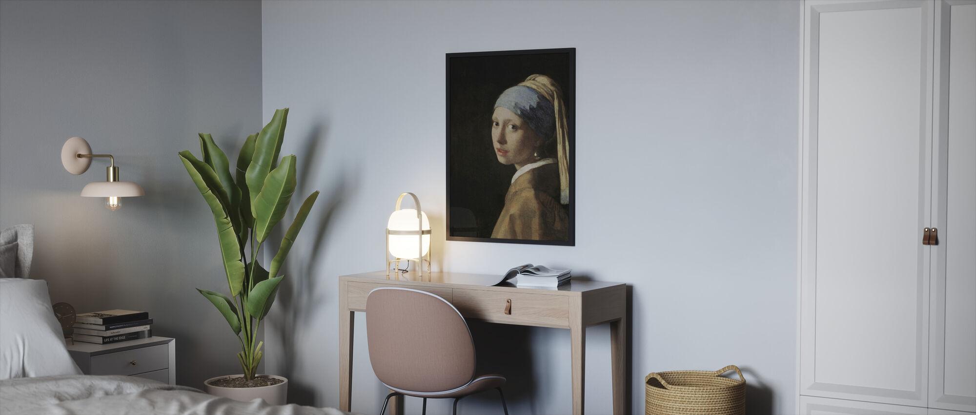 Meisje met een Parel Oorbel, Jan Vermeer - Ingelijste print - Slaapkamer