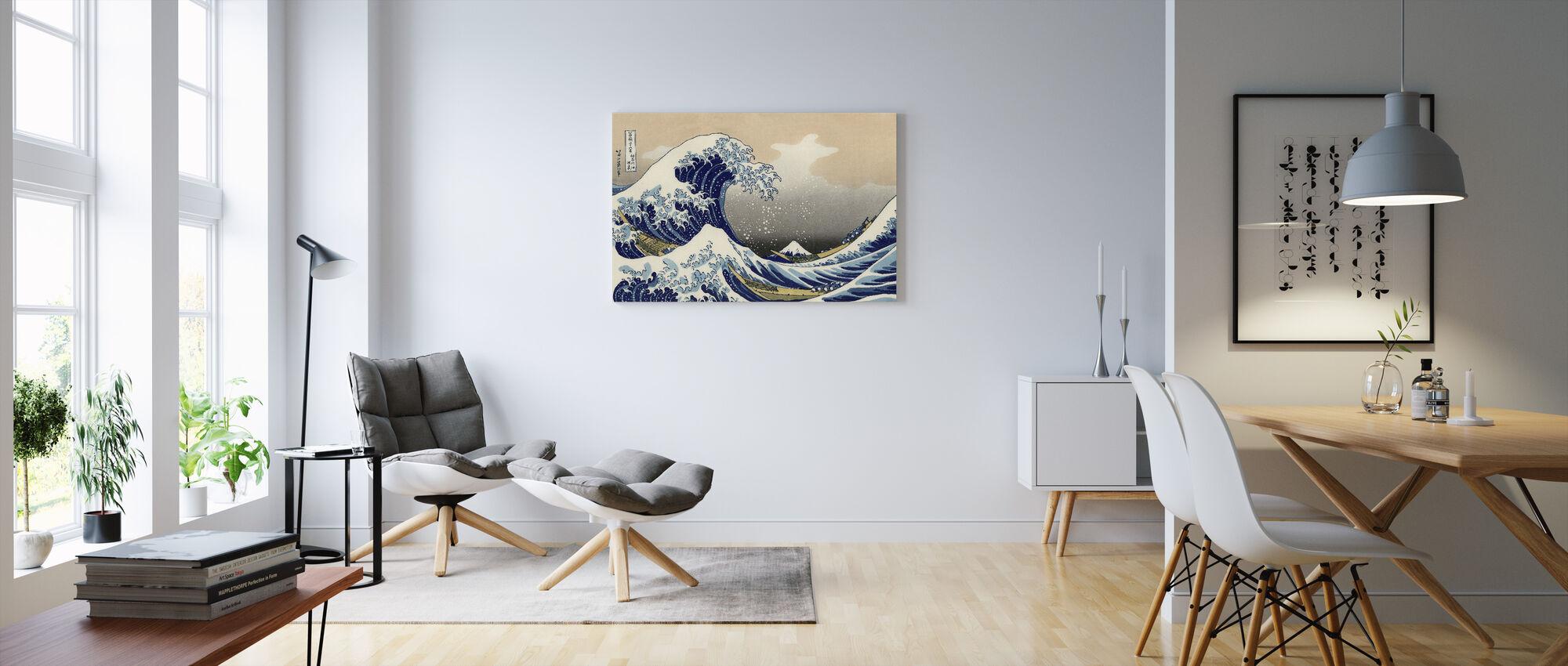 Stor bølge, Katsushika Hokusai - Billede på lærred - Stue