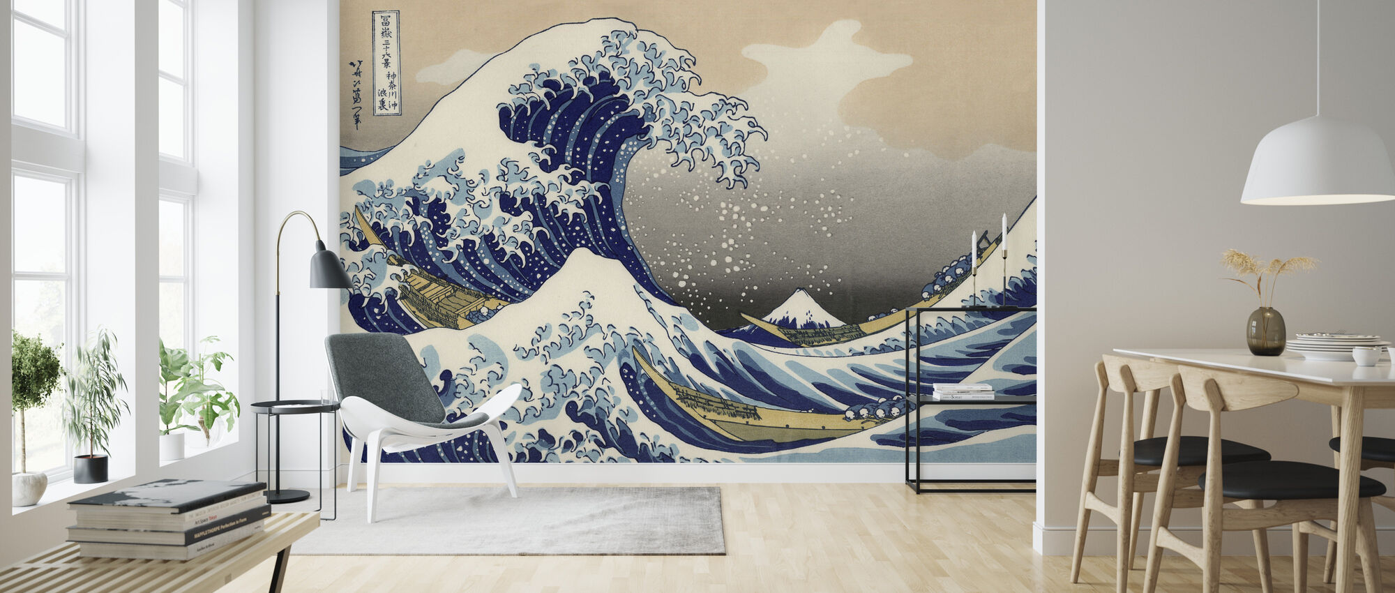 Great Wave, Katsushika Hokusai - Wallpaper - Living Room