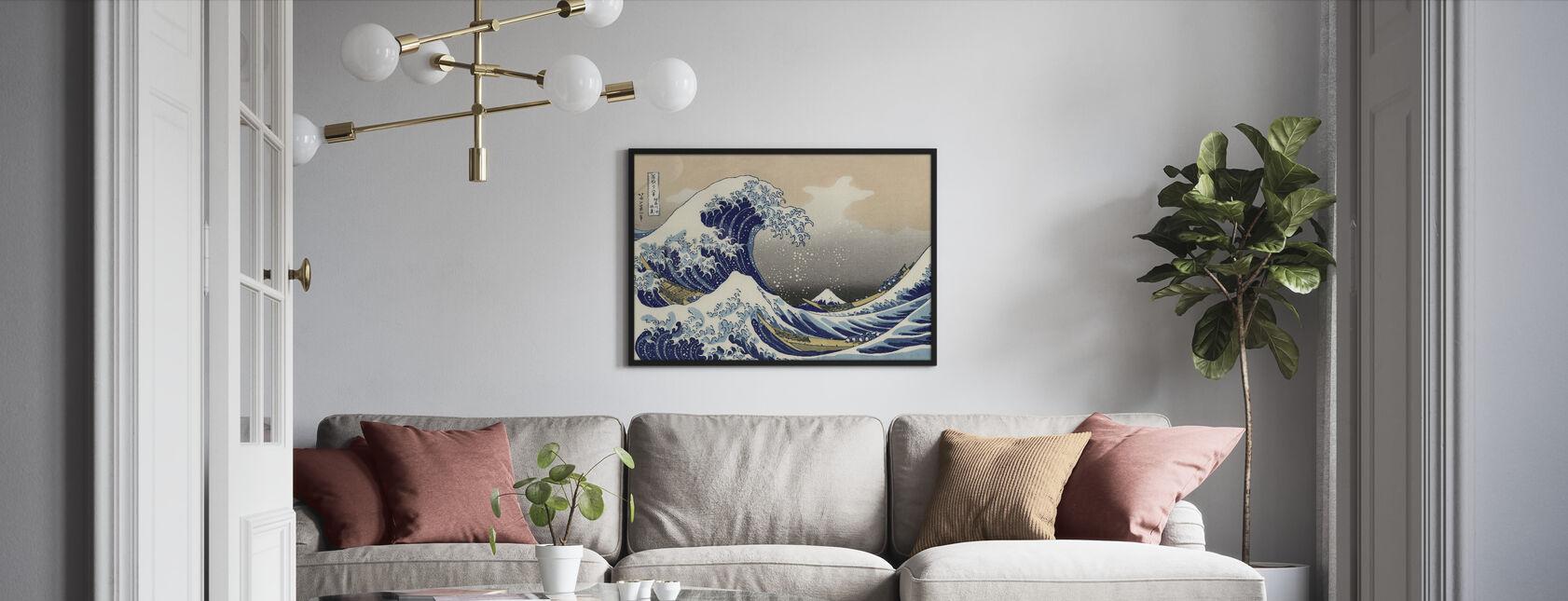 Suuri Aalto, Katsushika Hokusai - Kehystetty kuva - Olohuone