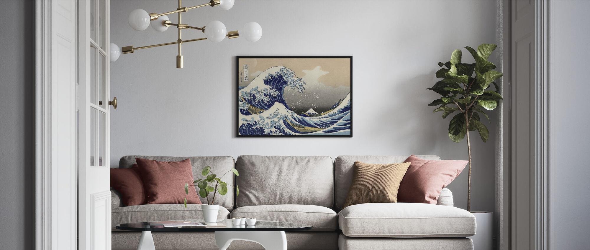 Great Wave, Katsushika Hokusai - Framed print - Living Room