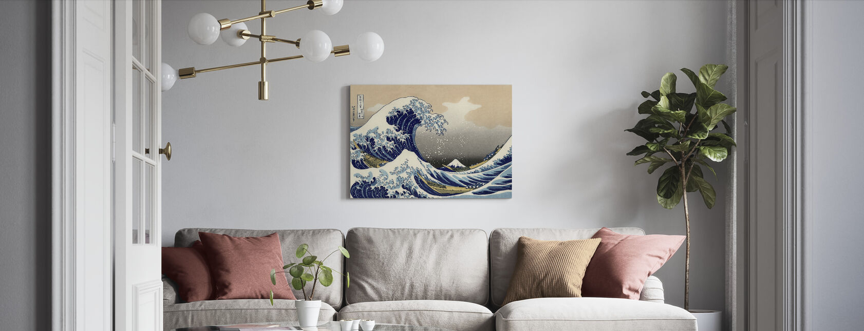 Grote Golf, Katsushika Hokusai - Canvas print - Woonkamer