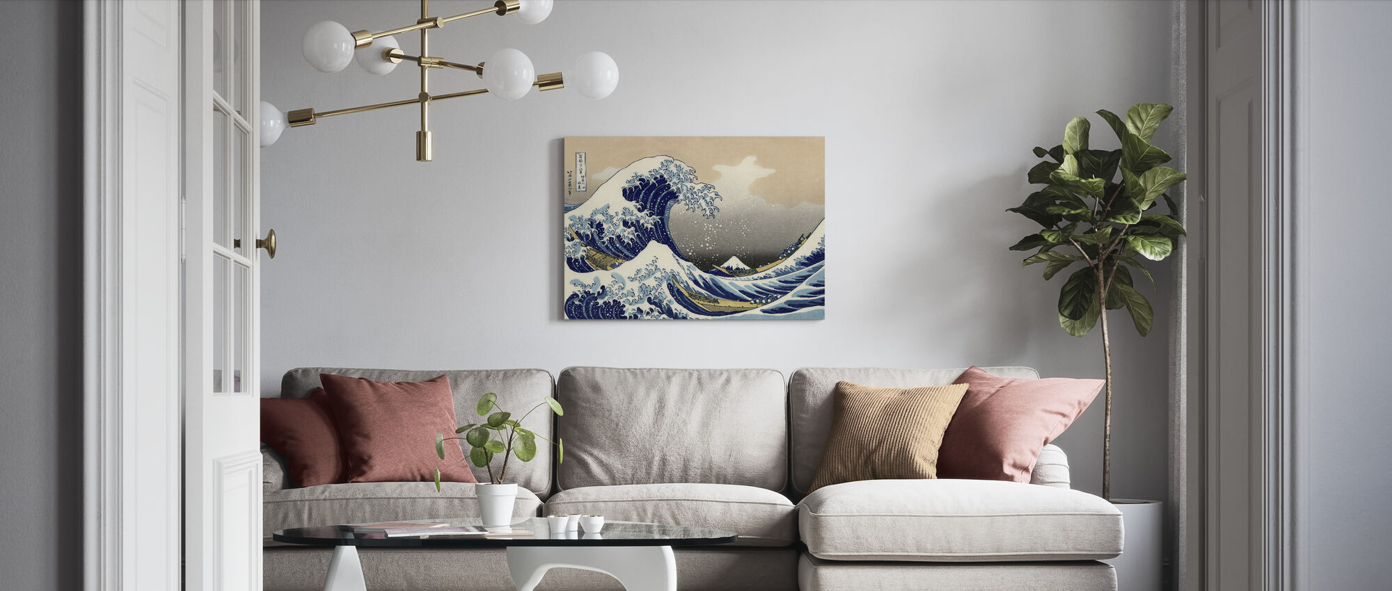 Great Wave, Katsushika Hokusai - Canvas print - Living Room