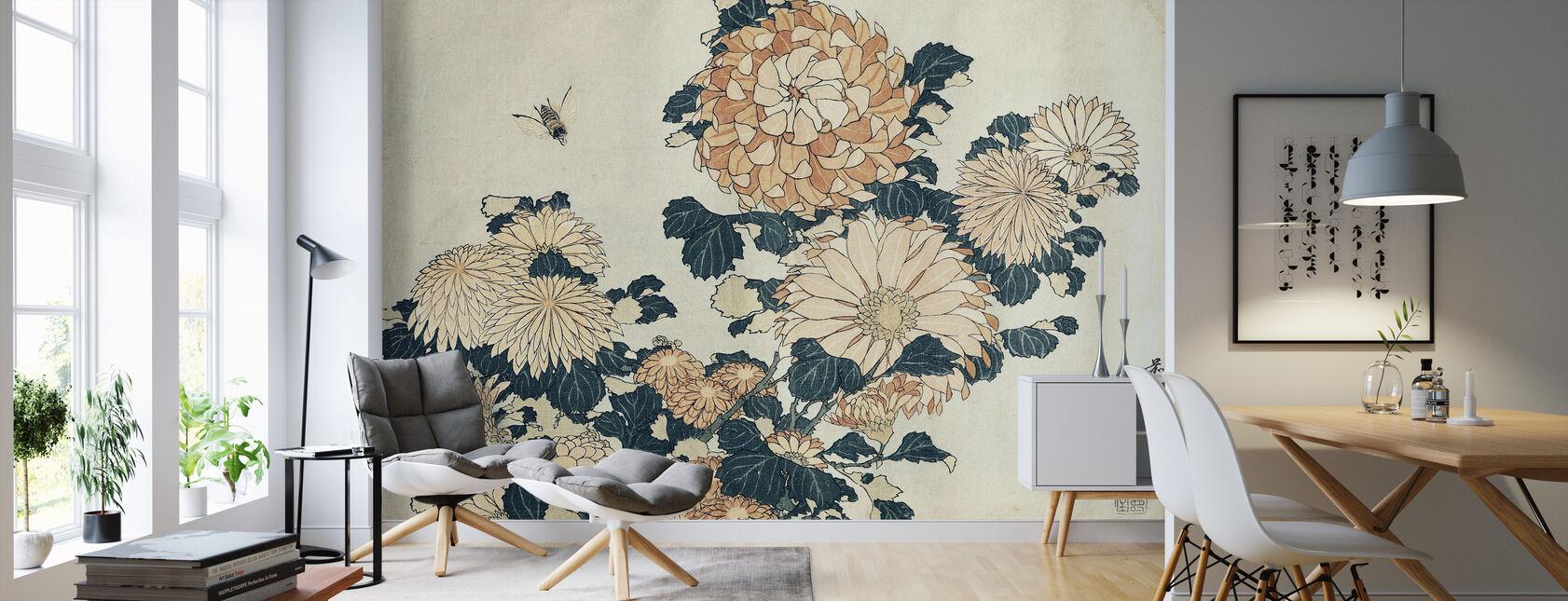 Chrysanthemums, Katsushika Hokusai - Wallpaper - Living Room