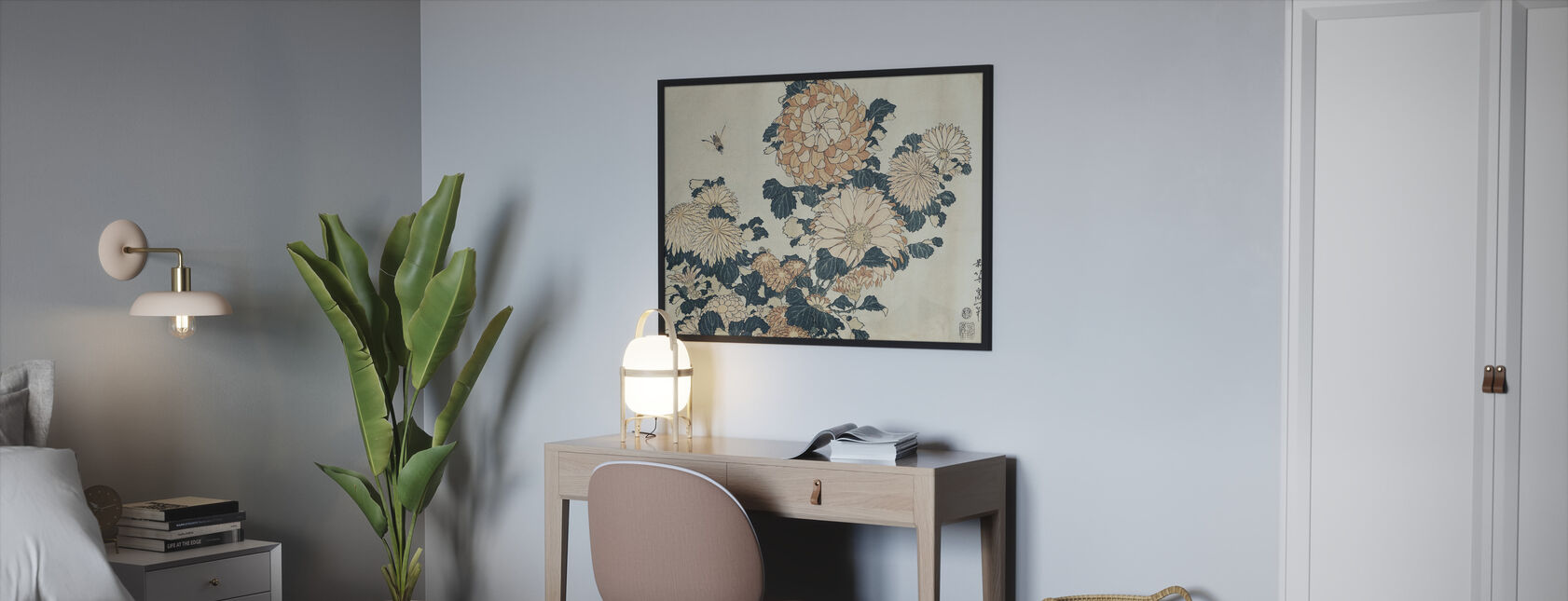 Chrysanthemums, Katsushika Hokusai - Framed print - Bedroom