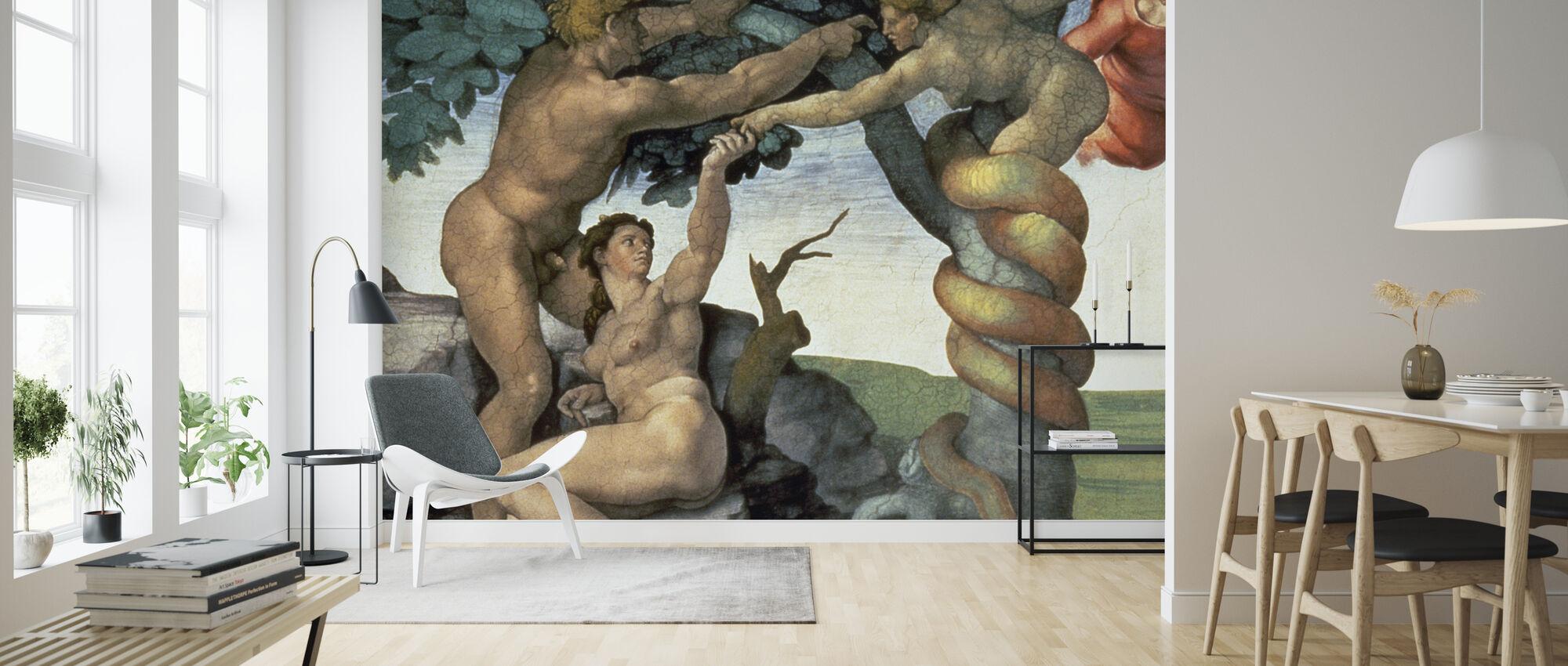 Sikstuksen kappeli katto, Michelangelo Buonarroti - Tapetti - Olohuone