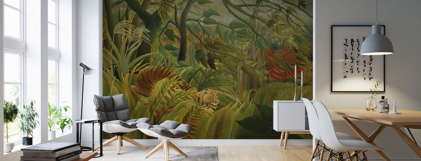 Tiger in a Tropical Storm, Henri Rousseau - Wallpaper - Living Room