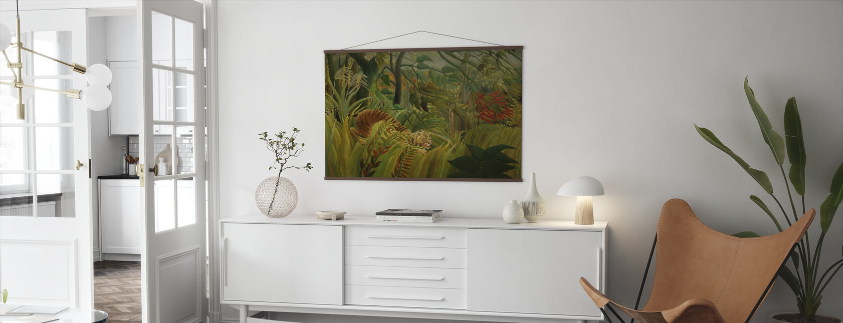 Tigre en una tormenta tropical, Henri Rousseau - Póster - Salón