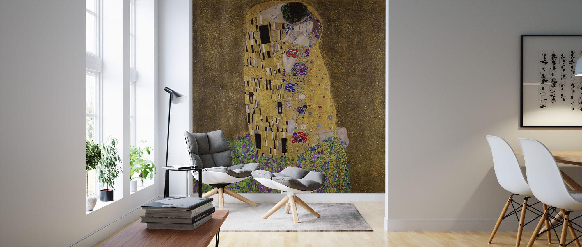 Suudelma, Gustav Klimt - Tapetti - Olohuone