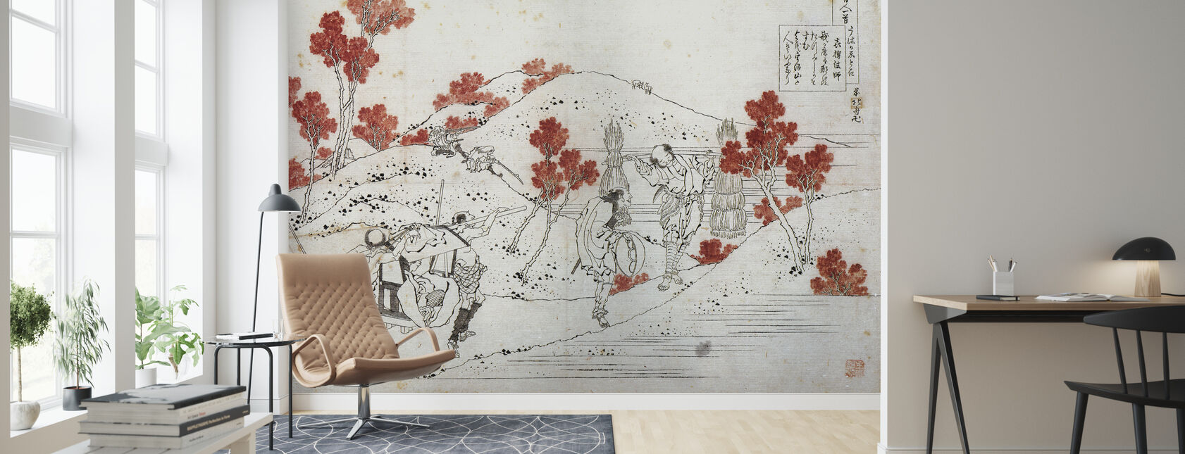 Porters Carry a Palanquin, Katsushika Hokusai - Wallpaper - Living Room