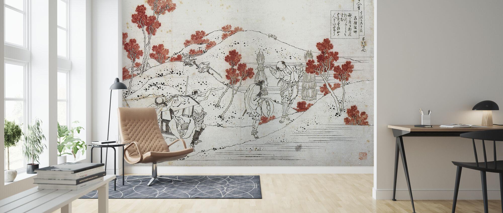 Porters Carry a Palanquin, Katsushika Hokusai - Wallpaper - Living Room