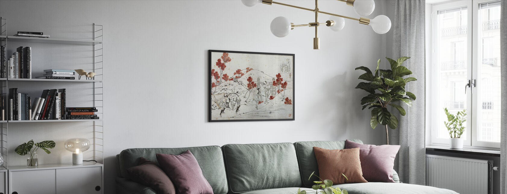 Porters Carry Palanquin, Katsushika Hokusai - Kehystetty kuva - Olohuone