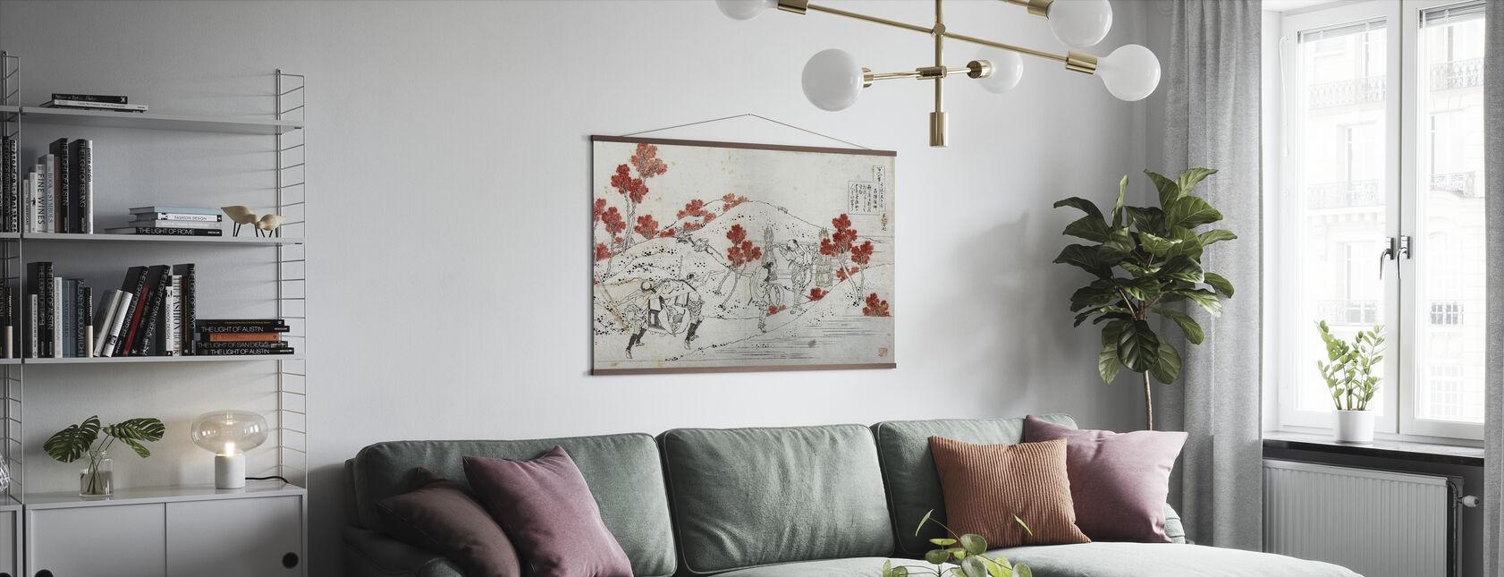 Porters dragen een Palanquin, Katsushika Hokusai - Poster - Woonkamer