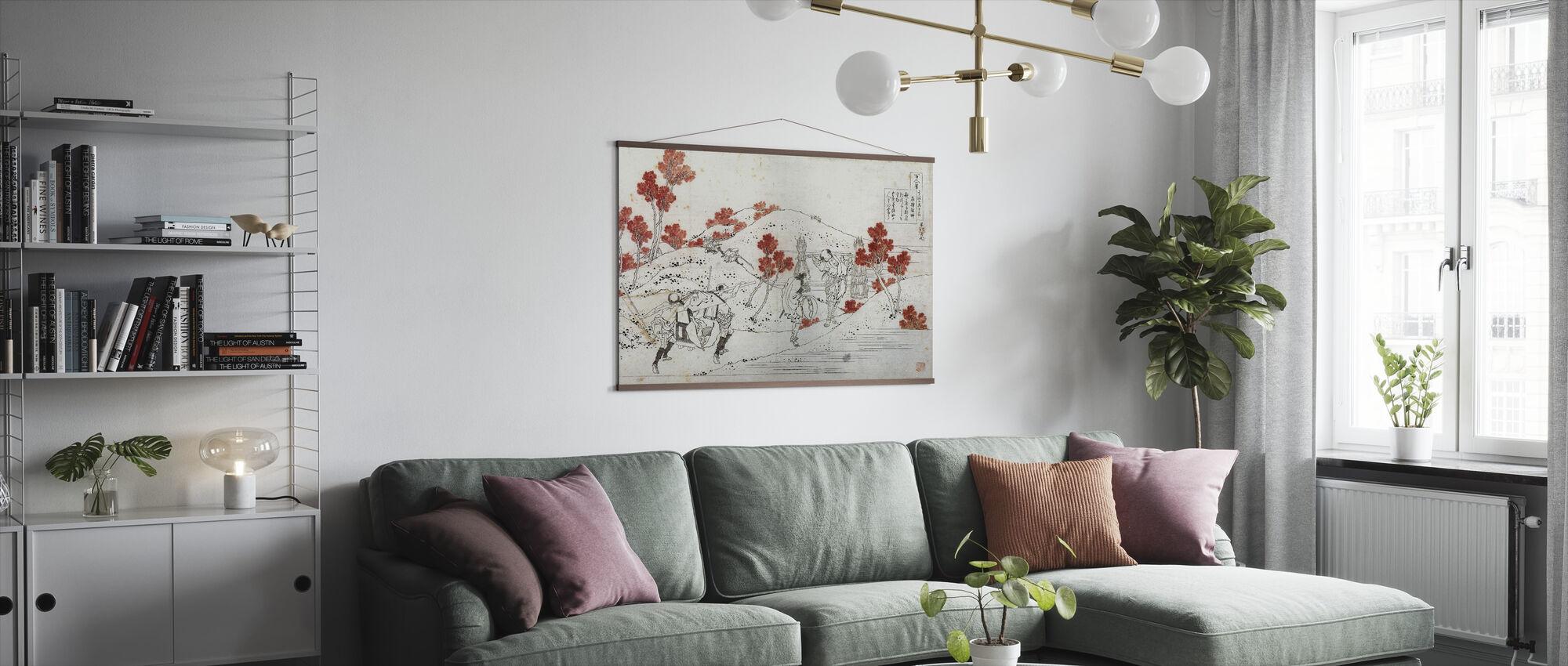 Porters Carry Palanquin, Katsushika Hokusai - Juliste - Olohuone