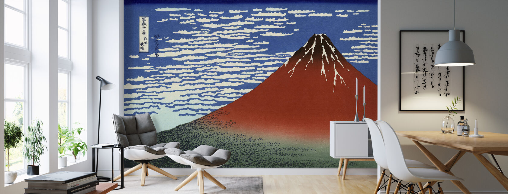 Red Fuji, Katsushika Hokusai - Wallpaper - Living Room